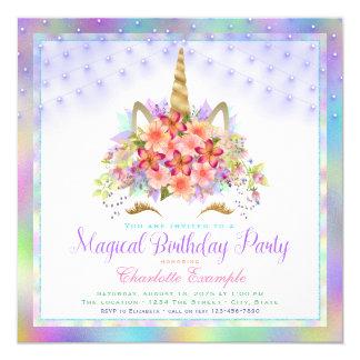 Rainbow Unicorn Face Birthday Party Invitations