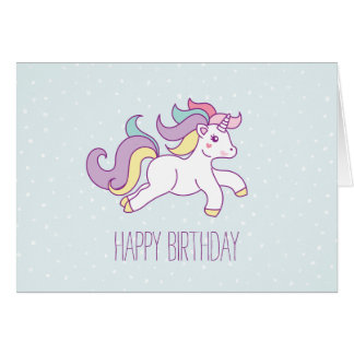 Rainbow Unicorn Girls Birthday Party Card