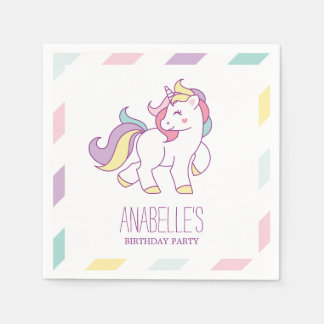Rainbow Unicorn Girls Birthday Party Paper Napkins