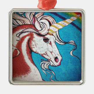 Rainbow Unicorn Graffiti Silver-Colored Square Decoration