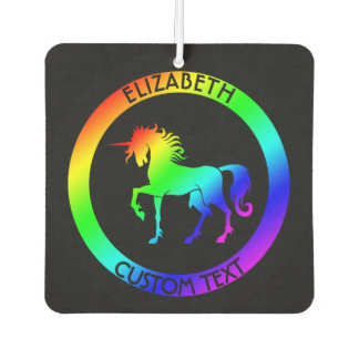Rainbow Unicorn In Black Circles Car Air Freshener