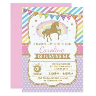 Rainbow Unicorn Invitation Birthday Party Invite