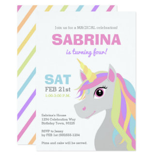 Rainbow Unicorn Kids Birthday Party Invitation