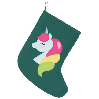 Rainbow Unicorn Large Christmas Stocking