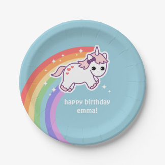 Rainbow Unicorn Party 7 Inch Paper Plate