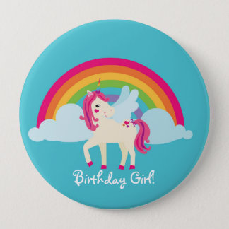 Rainbow Unicorn Personalized Birthday Button
