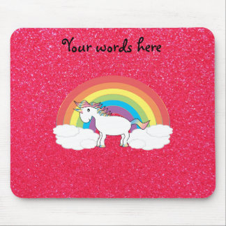 Rainbow unicorn pink glitter mouse pad