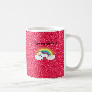 Rainbow unicorn pink glitter coffee mug