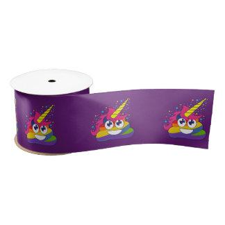 Rainbow Unicorn Poo Emoji (purple) Ribbon Satin Ribbon