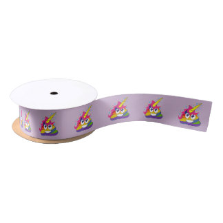 Rainbow Unicorn Poop Emoji (light purple) Satin Ribbon