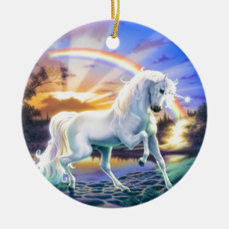Rainbow Unicorn Round Ceramic Decoration
