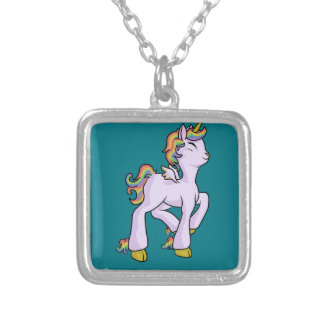 Rainbow Unicorn! Silver Plated Necklace