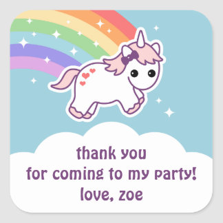 Rainbow Unicorn Square Sticker