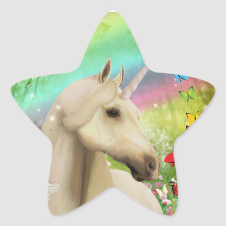 Rainbow Unicorn Star Shaped Stickers