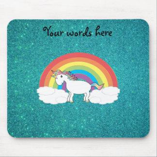 Rainbow unicorn turquoise glitter mouse pad