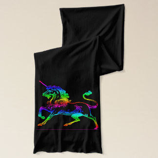 Rainbow Unicorn Vintage Black Scarf