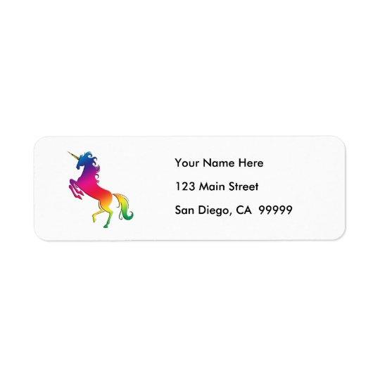 Rainbow Unicorn with Gold Horn Return Address Label