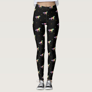 Rainbow Unicorns & Gold Star Pattern Leggings