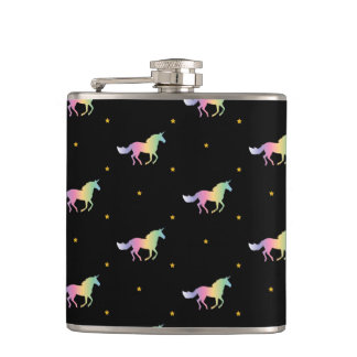 Rainbow Unicorns & Gold Stars Pattern Hip Flask