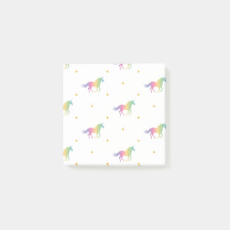 Rainbow Unicorns & Gold Stars Pattern Post-it Notes