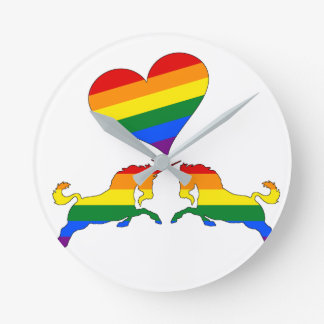 Rainbow Unicorns Round Clock