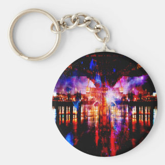 Rainbow Universe Bridge Basic Round Button Key Ring