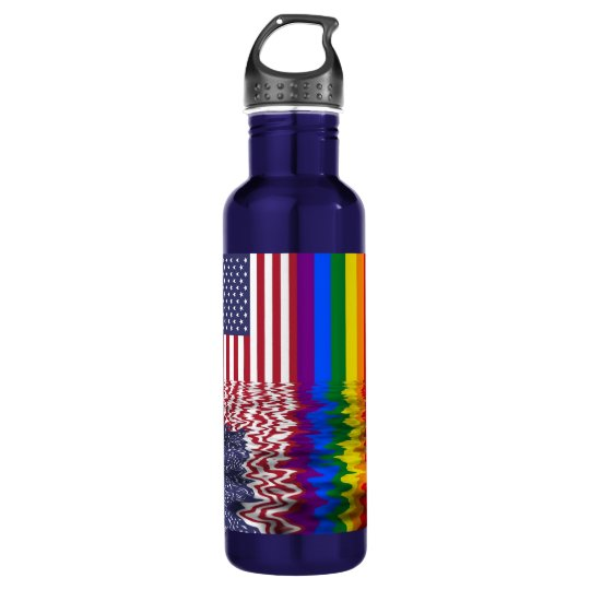 Rainbow US Flag Reflection LGBT Shirt Water Bottle