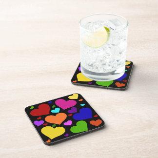 Rainbow Valentine Hearts Beverage Coasters