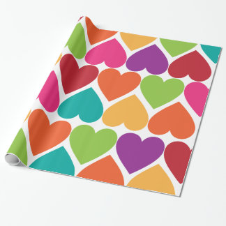 Rainbow Valentine Hearts Gift Wrap Paper