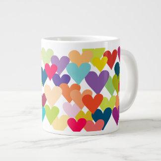 Rainbow Valentine's Hearts Large Coffee Mug