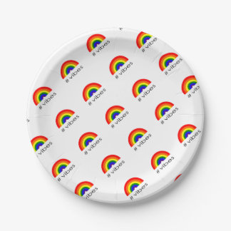 Rainbow vibes paper plate