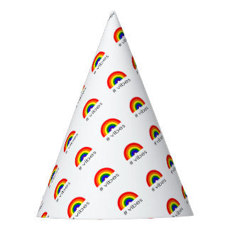 Rainbow vibes party hat