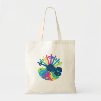 Rainbow Violin Tote Bag