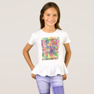 Rainbow Vortex Ruffle Shirt for girls