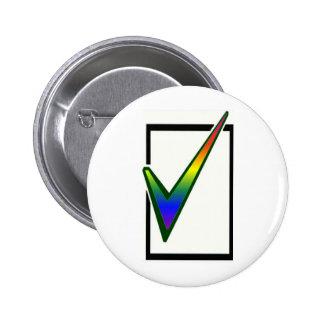 rainbow vote 6 cm round badge