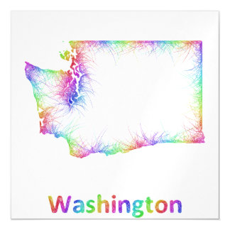 Rainbow Washington map Magnetic Invitations