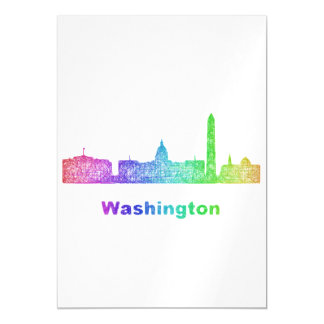 Rainbow Washington skyline Magnetic Invitations