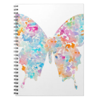 Rainbow Watercolor Butterfly Spiral Notebook