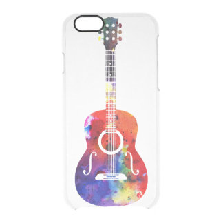 Rainbow Watercolor Guitar Clear iPhone 6/6S Case