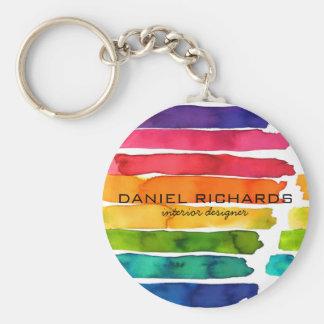 Rainbow watercolor Interior Designer Business Card Key Ring