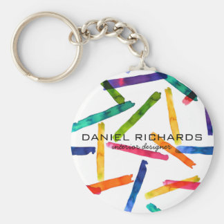 Rainbow watercolor Interior Designer Business Card Key Ring
