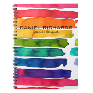 Rainbow watercolor Interior Designer Business Card Notebook
