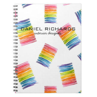 Rainbow watercolor Interior Designer Business Card Notebooks