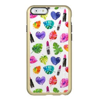 Rainbow watercolor palm leaves pin kiss lipsticks incipio feather® shine iPhone 6 case