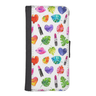 Rainbow watercolor palm leaves pin kiss lipsticks iPhone SE/5/5s wallet case