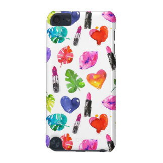 Rainbow watercolor palm leaves pin kiss lipsticks iPod touch 5G cases