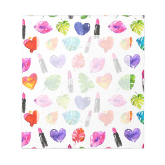 Rainbow watercolor palm leaves pin kiss lipsticks notepad