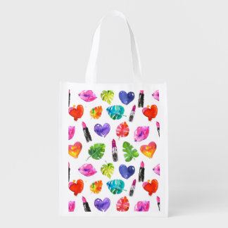 Rainbow watercolor palm leaves pin kiss lipsticks reusable grocery bag