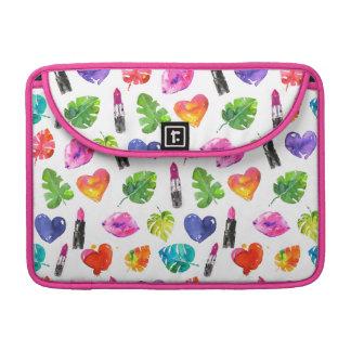 Rainbow watercolor palm leaves pin kiss lipsticks sleeve for MacBooks