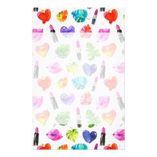 Rainbow watercolor palm leaves pin kiss lipsticks stationery
